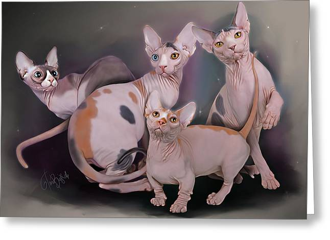 Sphynx And Bambino Cats Greeting Card by Anna Babich
