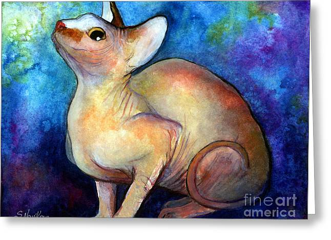 Sphynx Cat 5 Painting Greeting Card