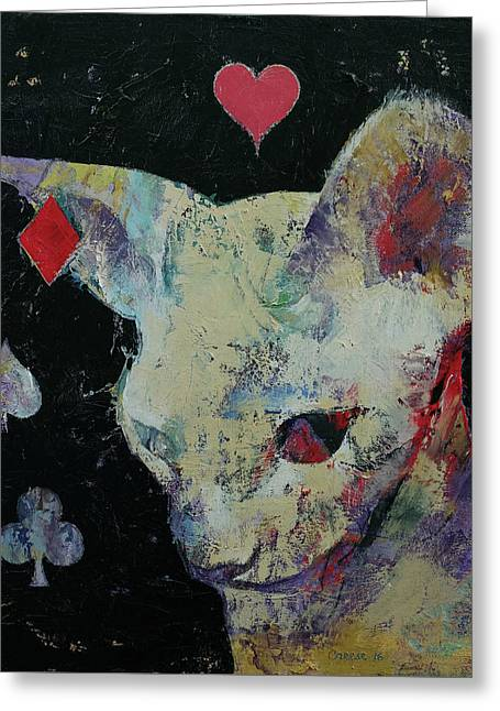 Sphynx Cat Lover Greeting Card by Michael Creese