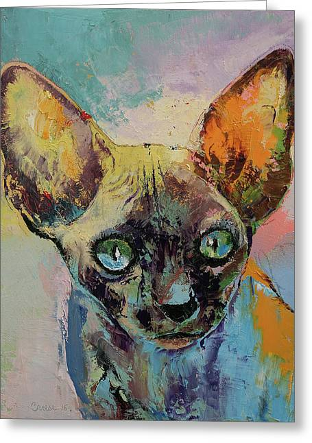 Sphynx Cat Portrait Greeting Card