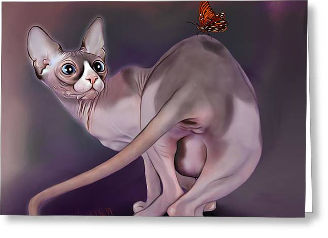 Sphynx Cat With Butterfly Greeting Card by Anna Babich