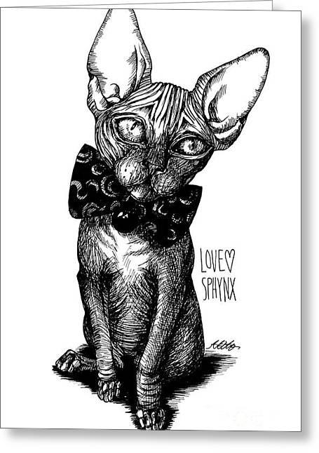 Sphynx Drawing Greeting Card by Akiko
