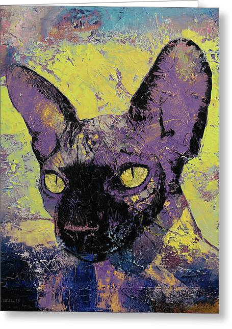 Sphynx Painting Greeting Card by Michael Creese