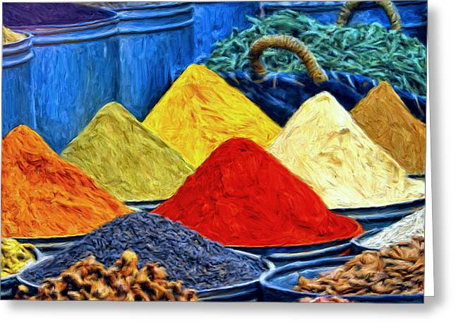 Spice Market In Casablanca Greeting Card by Dominic Piperata
