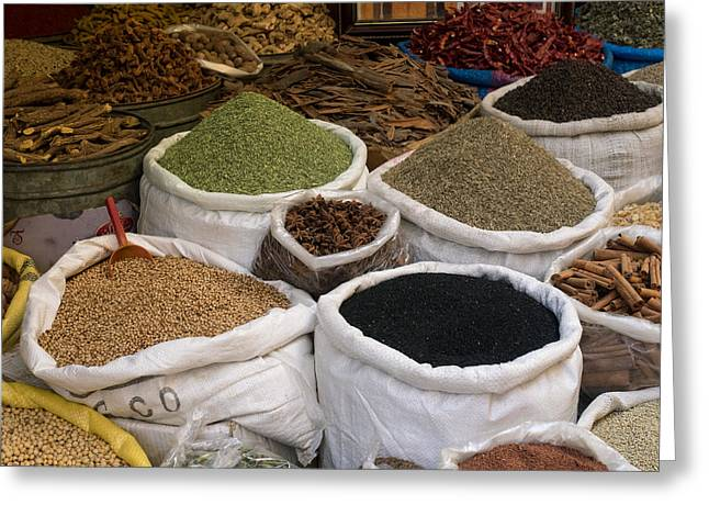 Spices And Lentils For Sale In Souk Greeting Card by Panoramic Images