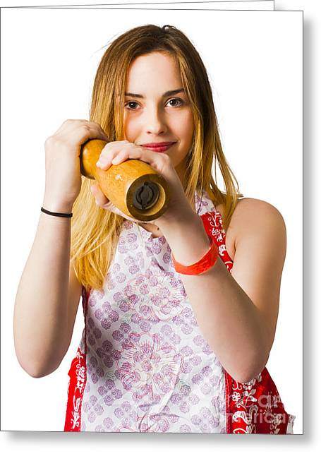 Spices Girl With Salt And Pepper Shaker Greeting Card