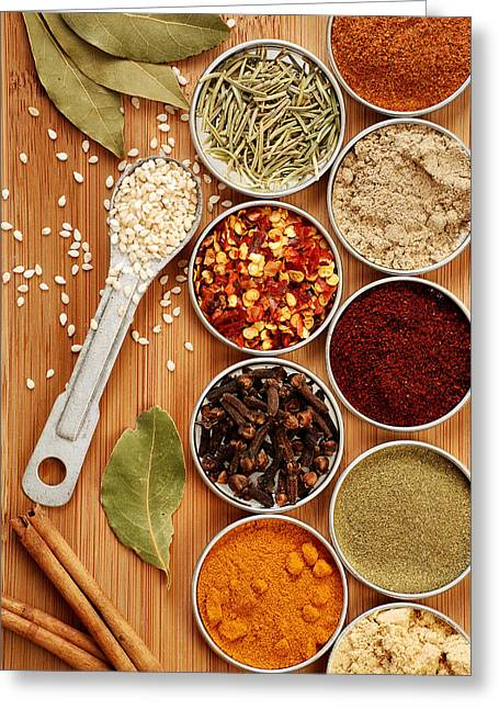 Powder Greeting Cards - Spices Greeting Card by HD Connelly
