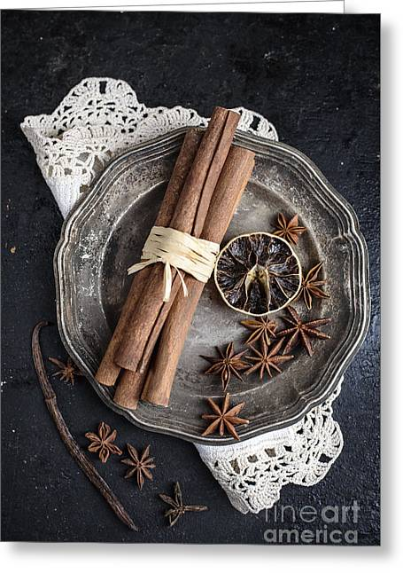 Spices In Silver Plate Greeting Card by Jelena Jovanovic