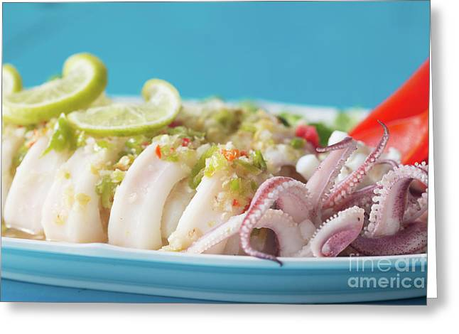 Spicy Food, Steamed Squid Greeting Card by Atiketta Sangasaeng