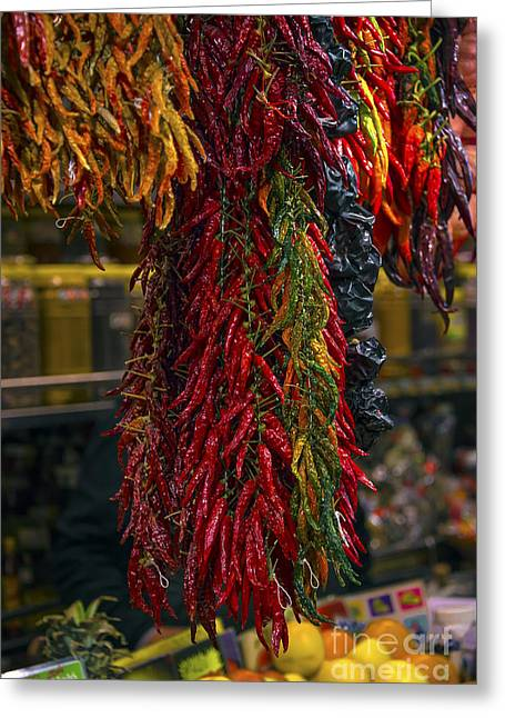 Spicy Peppers Greeting Card by Svetlana Sewell