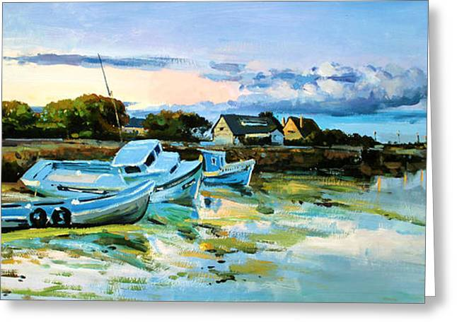 Boats On Water Greeting Cards - Spiddal Harbour Greeting Card by Conor McGuire