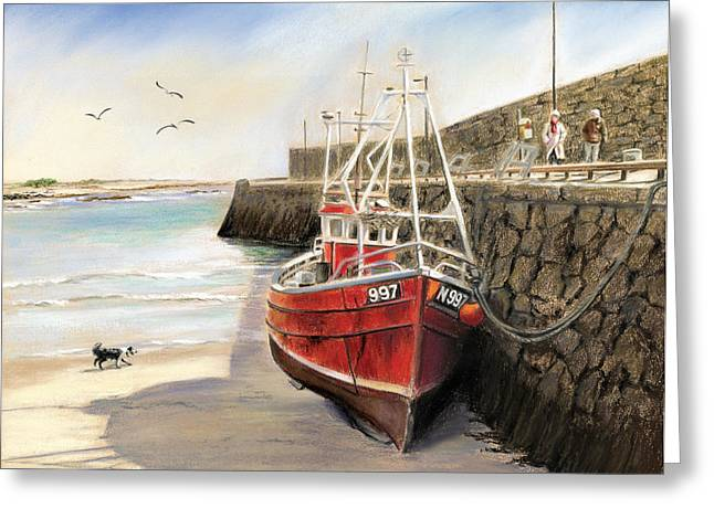 Spiddal Harbour Greeting Card by Vanda Luddy