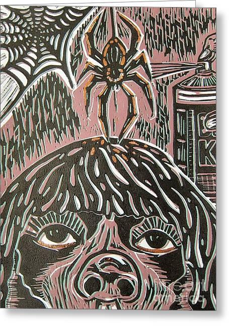Spider Fear Greeting Card by Susan Riha Parsley