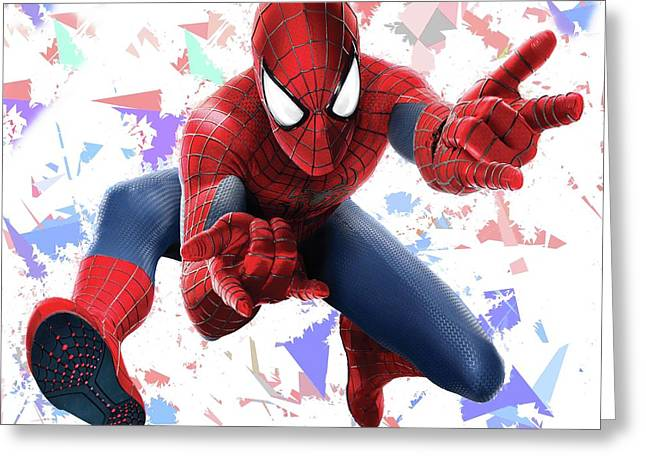 Greeting Card featuring the mixed media Spider Man Splash Super Hero Series by Movie Poster Prints