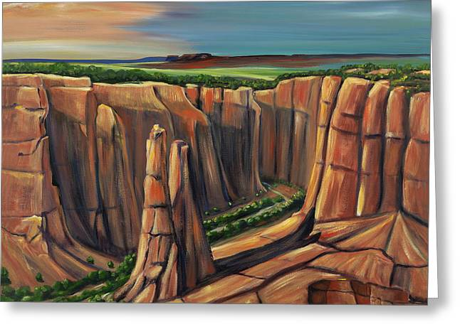 Counry Greeting Cards - Spider Rock Canyon de Chelly AR Greeting Card by George Chacon