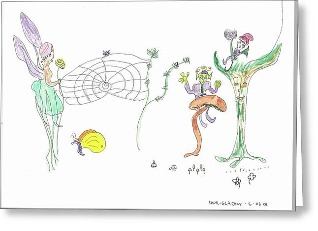 Spider Web And Fairies Greeting Card