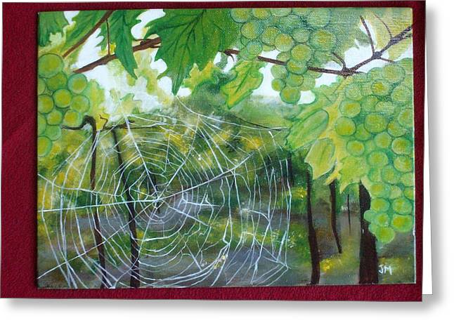 Spider Web In Spring Greeting Card by Jessica Meredith
