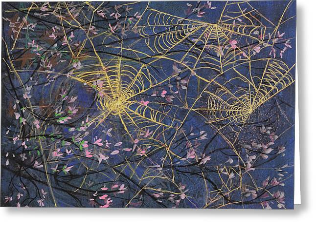 Spider Webs And Bloosoms Greeting Card by Ethel Vrana