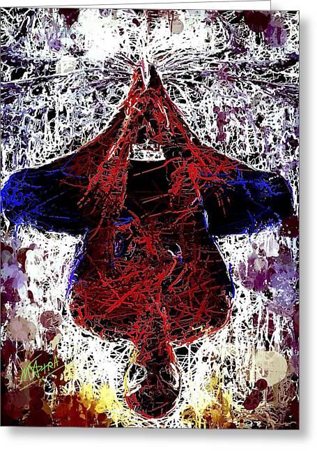 Spiderman Hanging Around Greeting Card