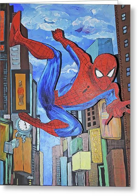 Spiderman Swings Greeting Card