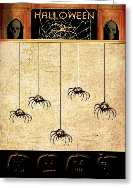 Spiders For Halloween Greeting Card by Arline Wagner