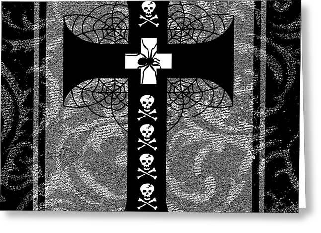 Spiderweb Skull Cross Greeting Card by Roseanne Jones