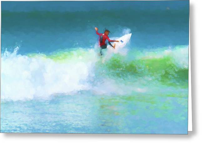 Spidey Surfs Too Surfing Watercolor Greeting Card