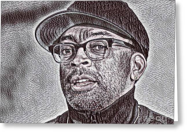 Spike Lee Portrait Drawing Greeting Card by Pd