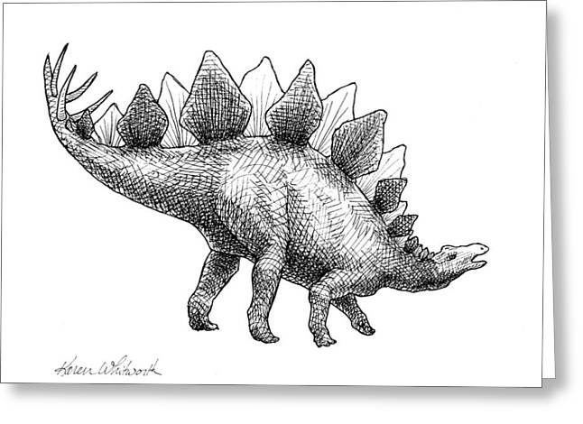 Greeting Card featuring the drawing Spike The Stegosaurus - Black And White Dinosaur Drawing by Karen Whitworth