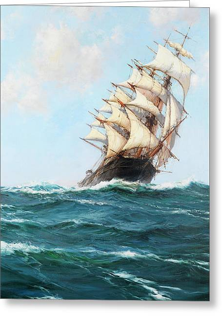 Spindrift Greeting Card by Montague Dawson