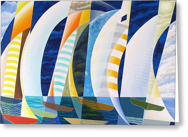 Greeting Card featuring the painting Spinnakers Up by Douglas Pike