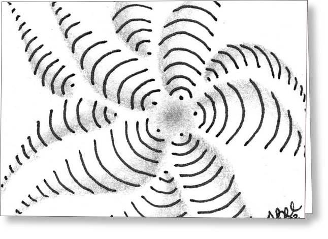Greeting Card featuring the drawing Spinner by Jan Steinle
