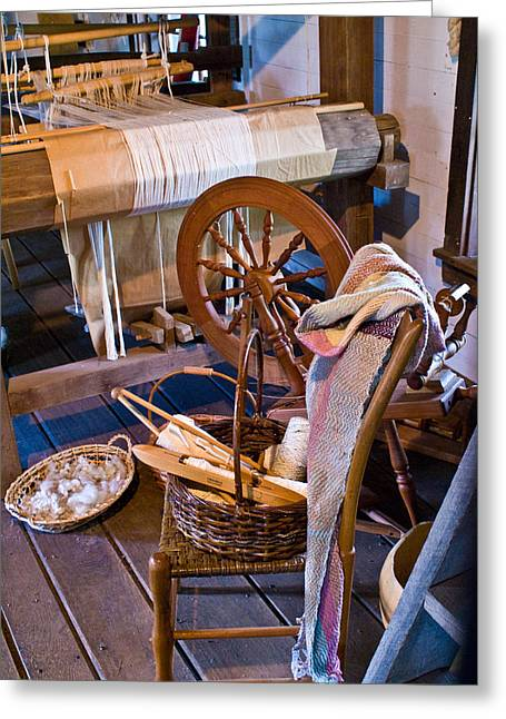 Festivities Greeting Cards - Spinning and Weaving Greeting Card by Douglas Barnett