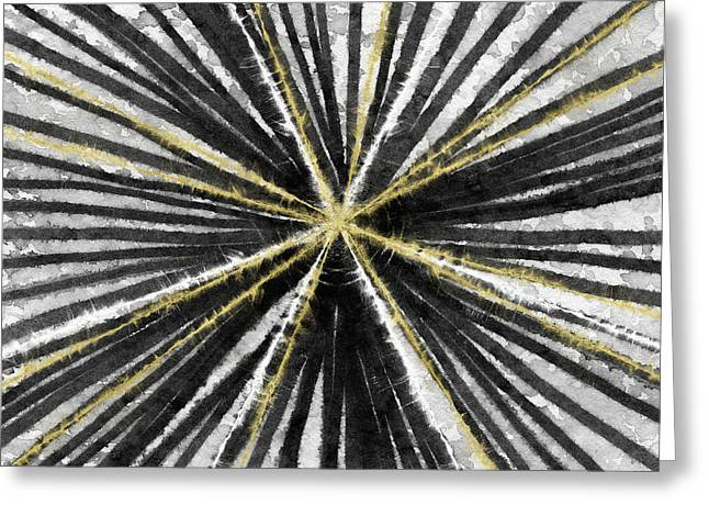 Spinning Black And Gold- Art By Linda Woods Greeting Card by Linda Woods