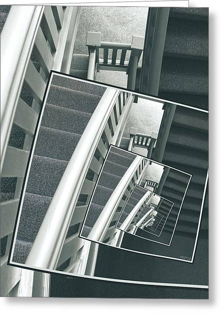 Spinning Carpeted Stairwell Greeting Card by Phil Perkins