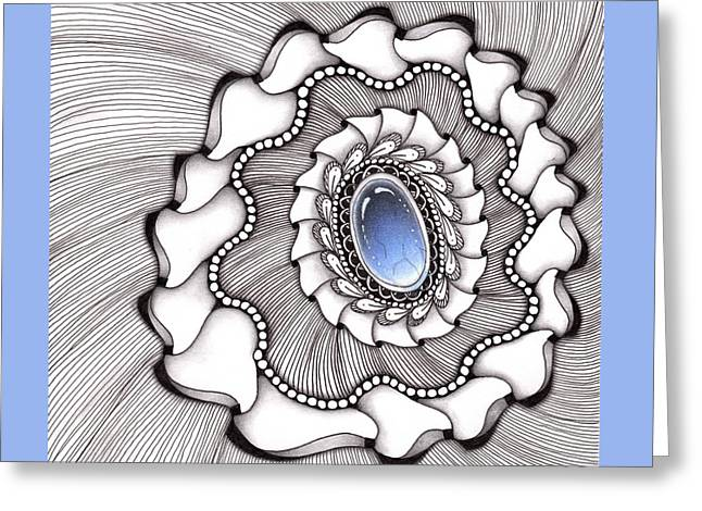 Greeting Card featuring the drawing Spinning Gemstone Flower by Jan Steinle