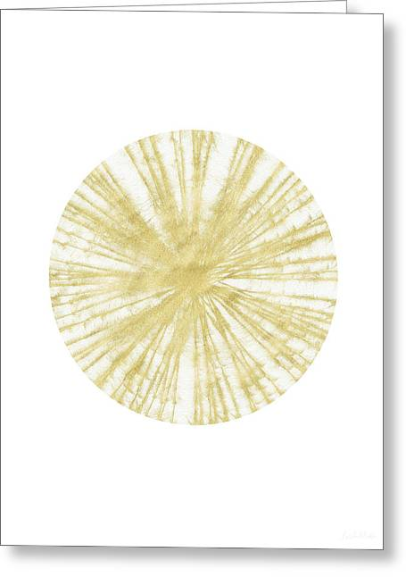 Spinning Gold Ball Art By Linda Woods Greeting Card by Linda Woods