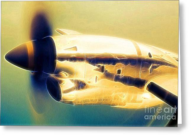 Spinning Propeller Pratt And Whitney Pw118a Turbo-prop In Flight Greeting Card