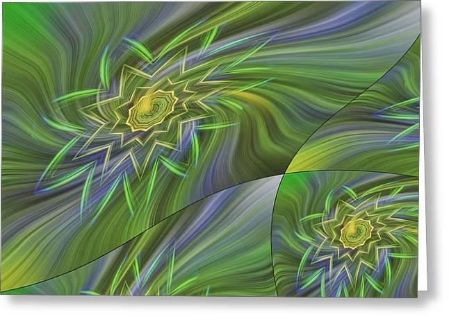 Spinning Star Tiles Greeting Card by Linda Phelps