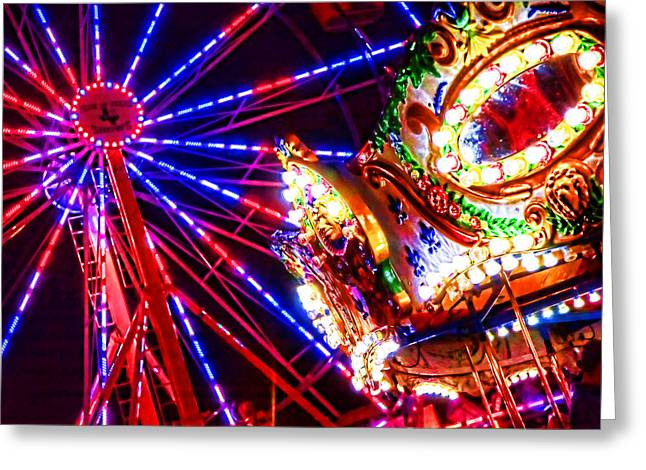 Night Lights At County Fair Greeting Card by Toni Hopper