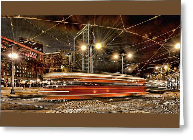 Greeting Card featuring the photograph Spinning Trolley Car by Steve Siri