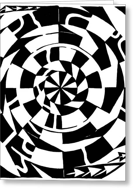 Spinning Tunnel Maze Greeting Card by Yonatan Frimer Maze Artist