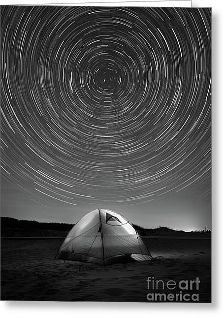 Spinning While We Sleep Bw Greeting Card by Michael Ver Sprill