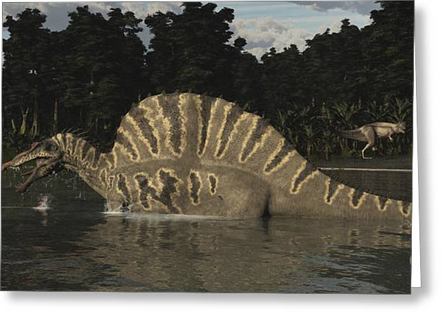 Spinosaurus Hunting For Fish In A Lake Greeting Card by Arthur Dorety