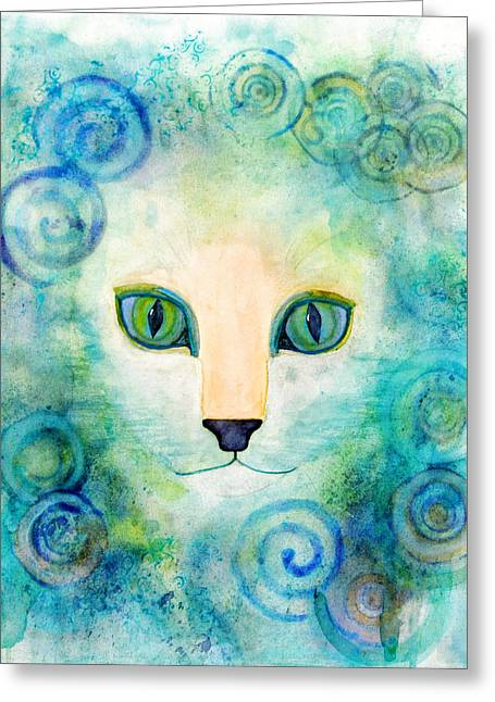 Spiral Cat Series - Wind Greeting Card by Moon Stumpp