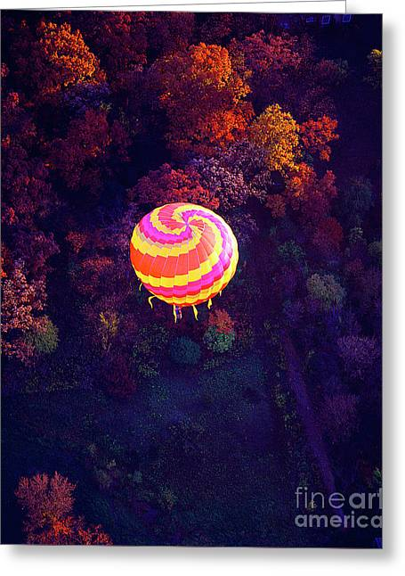 Spiral Colored Hot Air Balloon Over Fall Tree Tops Mchenry   Greeting Card