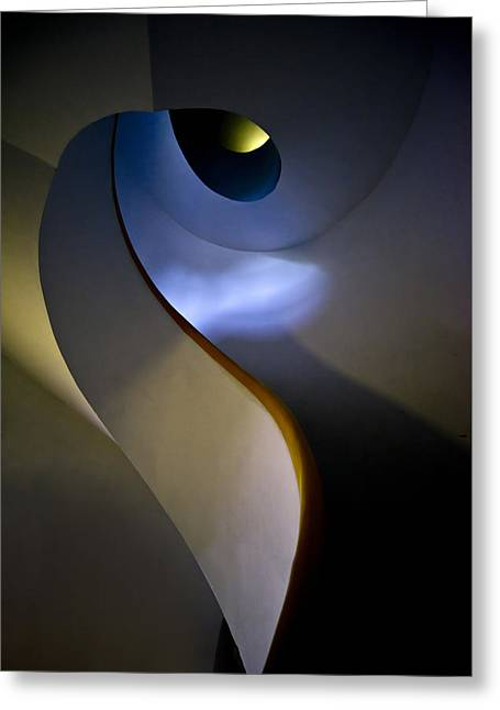 Spiral Concrete Modern Staircase Greeting Card