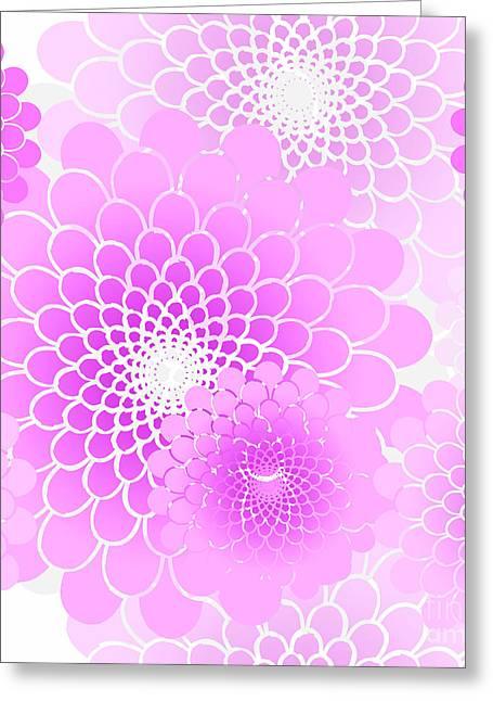 Spiral Flowers Leaves Pattern, Geometric Magenta Pink Floral Greeting Card
