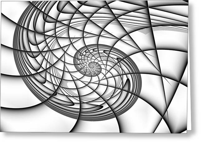Spiral In Monochrome Greeting Card by Mark Eggleston
