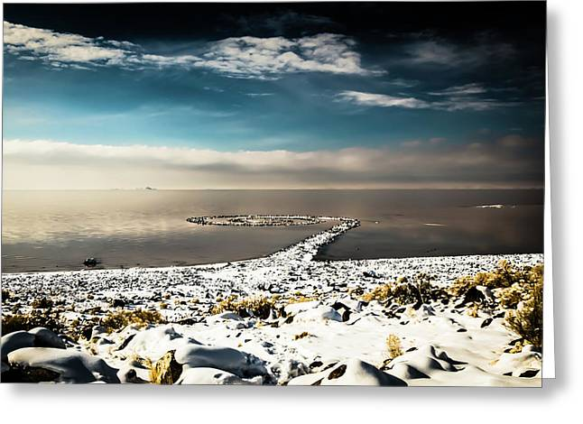 Spiral Jetty In Winter Greeting Card